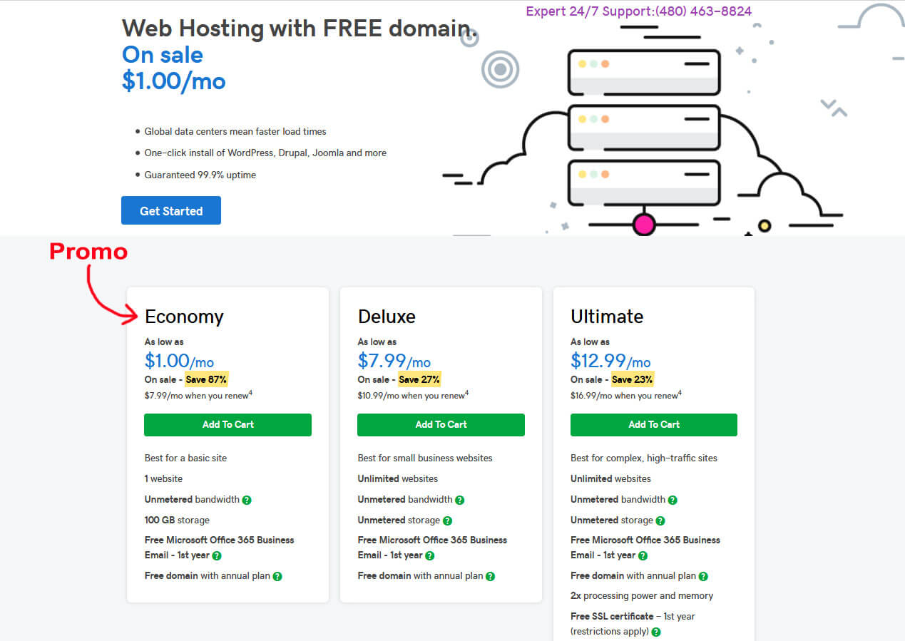 $1 Per Month Godaddy Hosting with Free Domain Name
